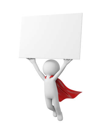 3d superman, flying in red raincoat with board in hand Stock Photo - 23438946