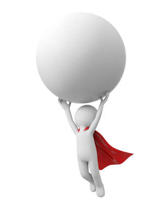 superboy: 3d superman,  flying in red raincoat with ball in hand Stock Photo