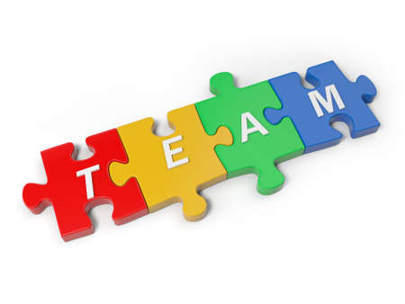 "3d word ""TEAM"" on four puzzle pieces  photo"