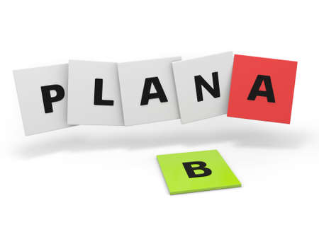 3d word sign  plan b and b, isolated on white background photo