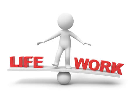 "work life balance:  3d people, person, man with word ""life"" and  ""work"" on balance scale Stock Photo"