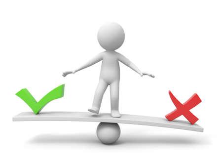"""balanza en equilibrio: 3d gente, persona, hombre, con el s�mbolo de """"correcto"""" e """"incorrecto"""" en la balanza"""