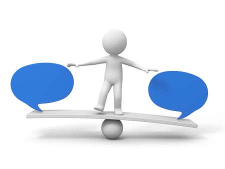 3d mensen, persoon, man met twee dialoogvenster per saldo schaal Stockfoto