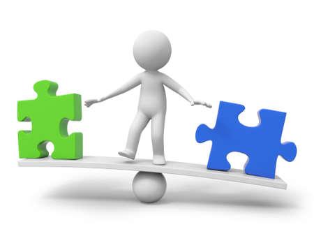 3d les gens, personne, homme avec un morceau de puzzle vert et un bleu sur l'échelle de solde