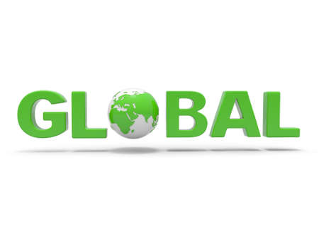 3d green word GLOBAL with 3d globe replacing letter O photo