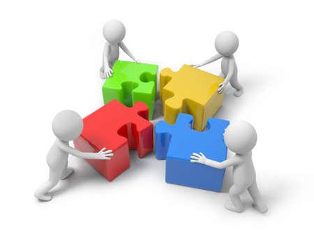 Vier 3D Menschen setzen die 4 Puzzleteile zusammen Standard-Bild - 23439155