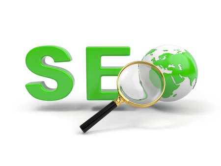 replacing: 3d magnifying glass and word SEO with 3d globe replacing letter O