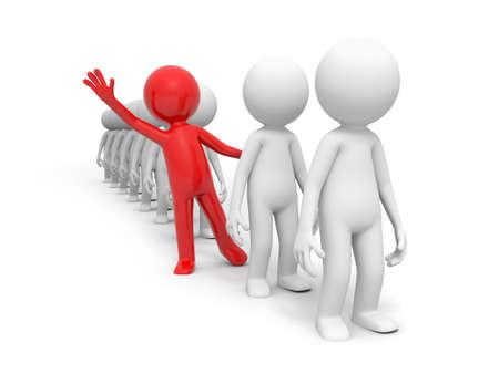 3 d 赤い人、グループのラインに彼の手を振っている人