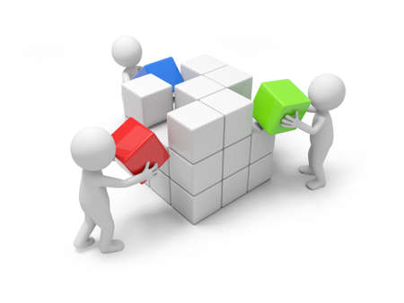 Three 3d people putting the cube of blocks Stock Photo