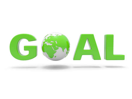 3d green word  GOAL with 3d globe replacing letter O photo