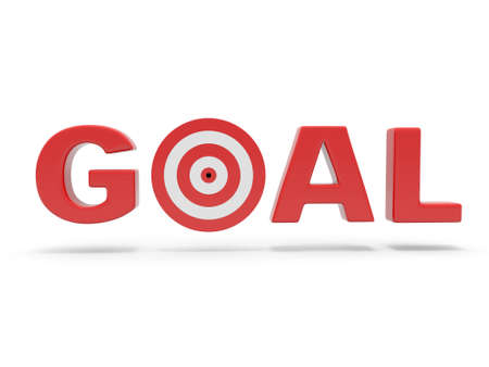 replacing: 3d red word GOAL with 3d target replacing letter O Stock Photo