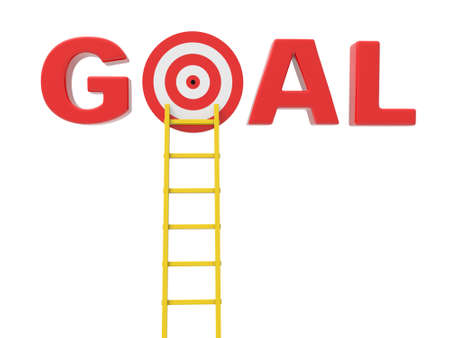 access point: 3d ladder to the target in word goal Stock Photo