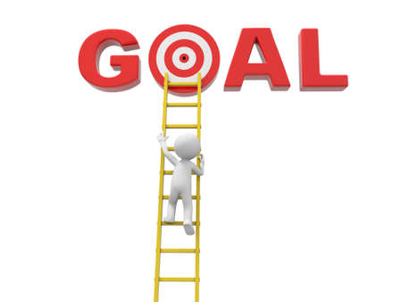 3d man climbing ladder to the target in word goal Stock Photo - 23439188