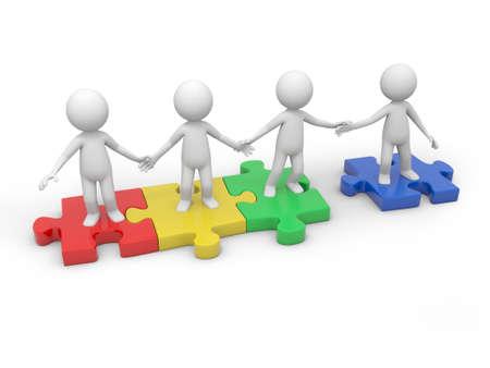 Quatre personnes 3d debout sur quatre pièces de puzzle