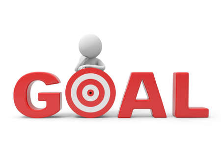 "3d man, person, human standing with the word ""goal"" photo"