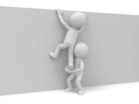 3d homme soulevant un autre pour atteindre le sommet Banque d'images