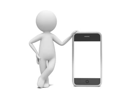 3d man standing with smart phone, blank screen for copy place photo