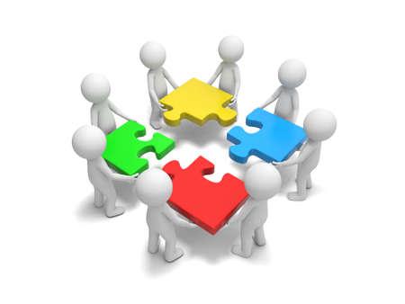 3d les gens, personne, les droits de mettre des morceaux de puzzle Banque d'images - 24088520