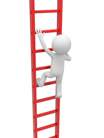 climbing ladder: 3d man, person, people climbing the ladder Stock Photo