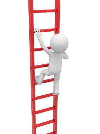 clamber: 3d uomo, persona, gente arrampicata sulla scala
