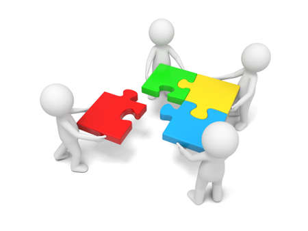 group  join: 3d man, person, human putting puzzle pieces together Stock Photo