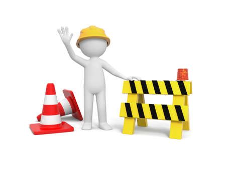 under construction sign with man: 3d worker with hand on roadblock, barricade