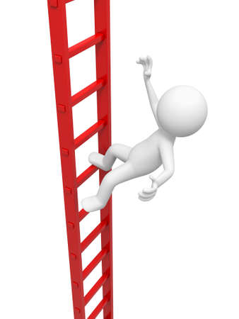 3d man, person, people climbing the ladder photo