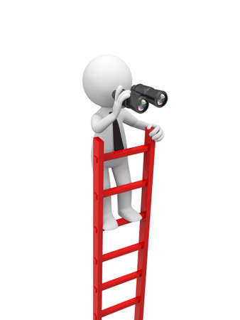 3d man, people standing on ladder , watching with a binocular photo
