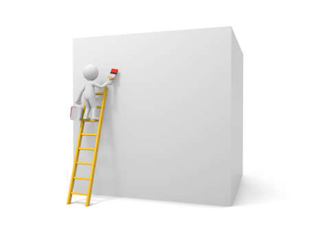 clambering: 3d man, people, person with ladder and square