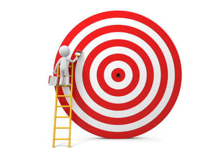 3d man, people, person with ladder and target Stock Photo - 24088568