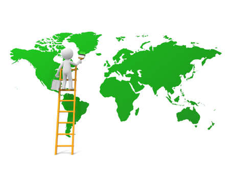 environment geography: 3d man, people, person with ladder and earth map Stock Photo