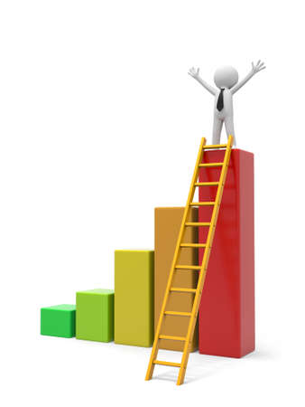 3d man, people, person with bar chart and ladder photo