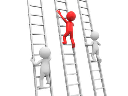 climbing ladder: 3d man, people, person climbing ladder, leader