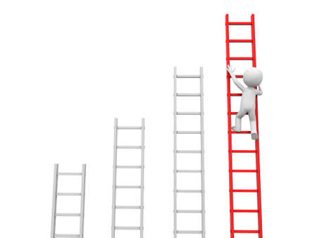 binoculars view: 3d man, people, person climbing red ladder  Stock Photo