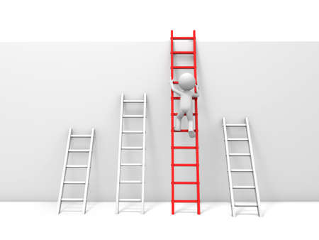 career ladder: 3d man, people, person climbing the red ladder