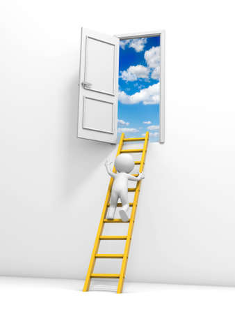3d man, people, person with ladder and door, isolated on white background photo