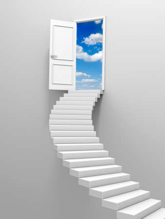 ladder of success: 3d steps and door, isolated on white background