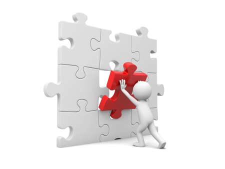 3d man, person, human assembling puzzle piece