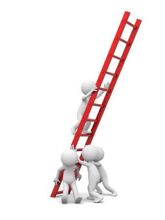 3d homme, les gens, personne avec le travail de l'équipe de chef de file de l'échelle rouge