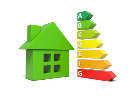 energy ranking: 3d bar graph and 3d house, energy efficiency concept Stock Photo