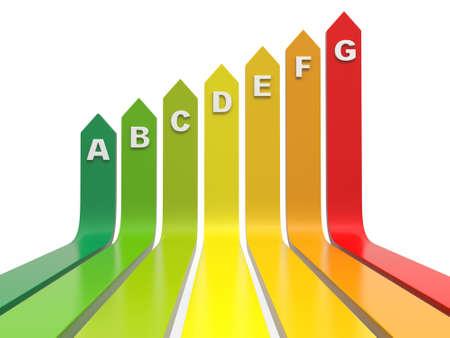 3d staafdiagram, energie-efficiëntie concept, op een witte achtergrond Stockfoto
