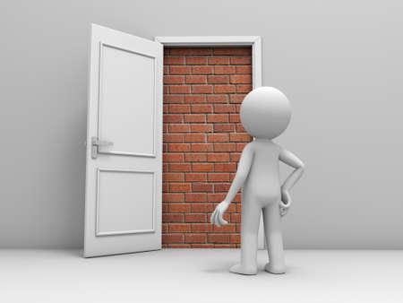 3D man, mensen, persoon voor een gesloten deur met bakstenen
