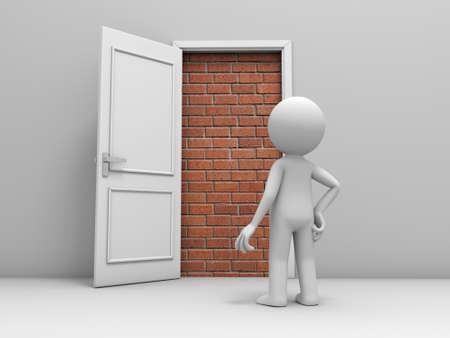 room door: 3d man, people, person in front of a locked door with bricks Stock Photo