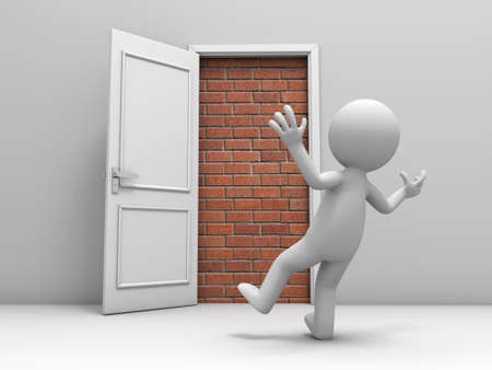 metaphoric: 3d man, people, person in front of a locked door with bricks Stock Photo