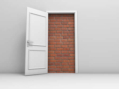 door way: 3d door with bricks, concept no escape and entrance