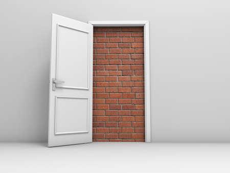 nightmare: 3d door with bricks, concept no escape and entrance