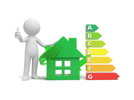 energy classification: 3d man, people, person standing by green house and bar graph