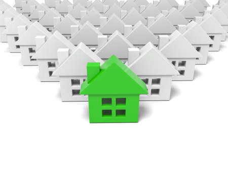 housing development: 3d green house standing out from the crowd Stock Photo