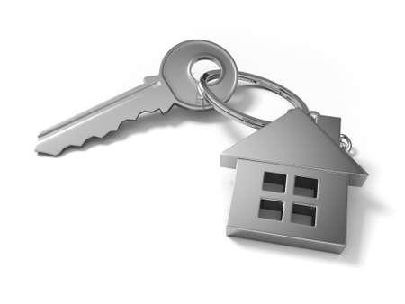 3d clé avec la maison verte, sur un fond blanc