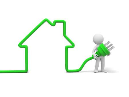 3D 사람, 사람들, 집 모양의 플러그를 잡고 사람 스톡 콘텐츠
